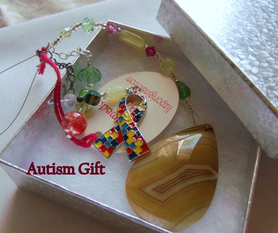 Autism gift - Puzzle ribbon charm - Autism awareness - Autism Mom - personalized autism gift - window ornament - car charm - honey teardrop