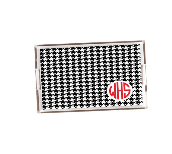 Houndstooth nonogrammed tray, Houndstooth decor, personalized acrylic tray, lucite catchall, acrylic accessory, jewelry organizer