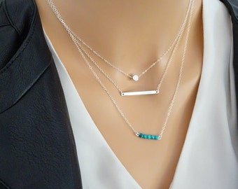 Simple Layereing necklace set, Silver Bar Necklace, Turquoise necklace, Dot Necklace, Sterling Silver Chain, Turquoise December birthstone