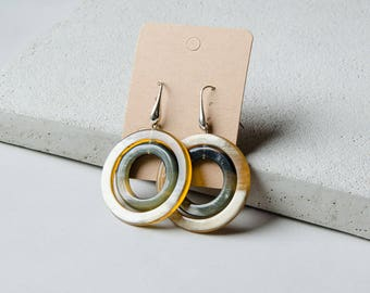 Double Circle Horn Earrings colorful Silver Earhooks