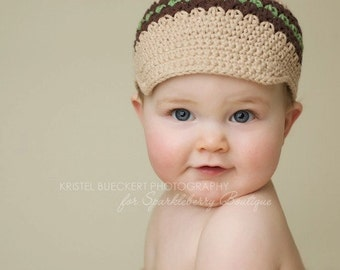 Crocheted Newsboy Hat Boys Striped Versatile Skater Brimmed Hat Visor Beanie Jute, Chocolate, Army Green