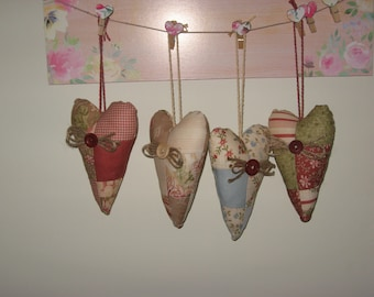 """Hanging Cotton Patchwork 6"""" Heart"""