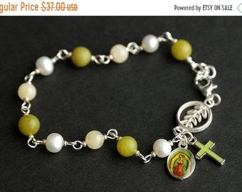 MOTHERS DAY SALE Jade Rosary Bracelet. Gemstone Chaplet. Jade, Aragonite, and Fresh Water Pearl Bracelet. Pea Green Bracelet. Catholic Jewel