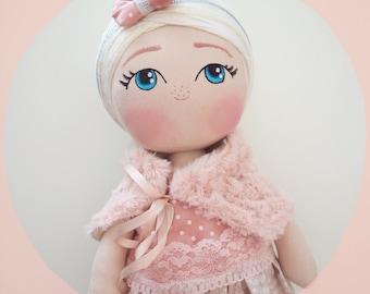 CUSTOM Cloth Doll - Cute Rag Doll - Handmade Fabric Doll - MADE to ORDER - personalized girl gift