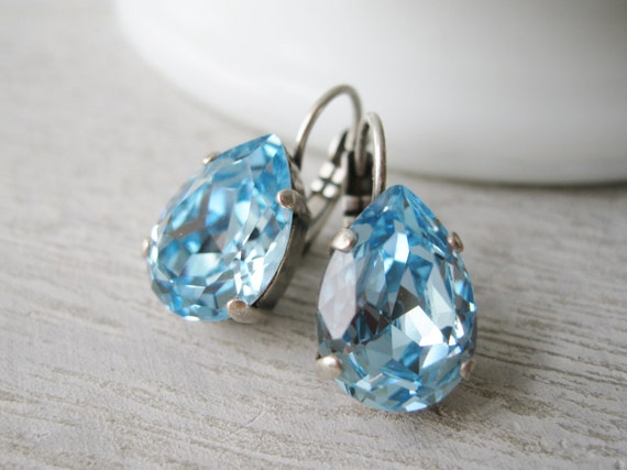 Aquamarine Teardrop Earrings Light Blue Swarovski Elements Spring Wedding Jewelry Bridesmaid Earrings Nickel Free