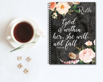 She Will Not Fall Religious Personalized Spiral Notebook, Custom Notebook, Personalized Sketchbook, Personalized Journal