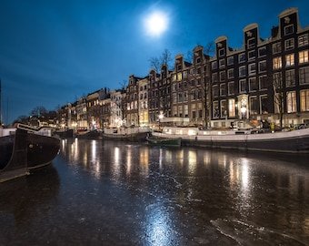 Frozen Canal in Amsterdam, Full moon photo print, Ice for skating, Amsterdam by night,  Canal houses, Long exposure art print, wall decor
