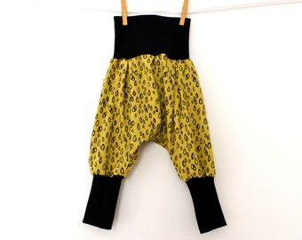 Harem baby, child scalable sarouel in jersey yellow and small drops (from 6-12 months to 3/4 years)