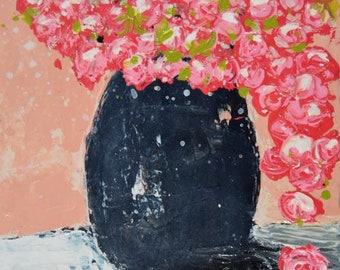 Acrylic Pink Roses Flower Painting. Made by Hand Still Life Floral Art Painting. Romantic Floral Painting Wall Decor. 8