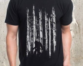 Bigfoot in the Forest T-Shirt - Men's Screen Printed T-Shirt