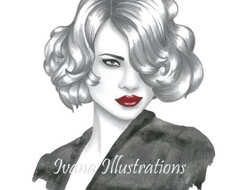 Instant download fashion illustration portrait Digital fashion sketch Printable fashion poster wall art decor A4