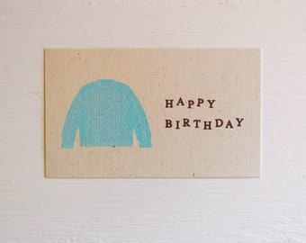 Mini Birthday Card, Sweater Birthday Card, Knitting Card, Japanese Stationery