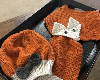 Knitted Toddler Fox scarf and Hat with Bow set