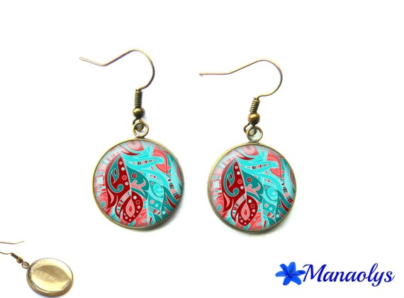 Bronze earrings, vintage, blue and pink pattern 2297 glass cabochons