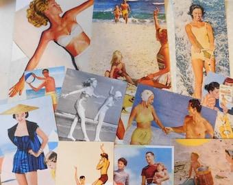Vintage Paper Ephemera - 12 Different Paper Pieces  - Vintage Beach Summer Images