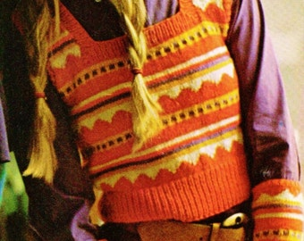 Fair-Isle Vest and Elbow Length Mittens Vintage Knitting Pattern Instant Download