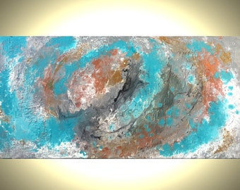Original Palette Knife Art, Large Metallic Earth Painting, SILVER Teal and White Painting, Textured Abstract Storm, Fine Art On Sale, 24x48