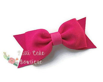 Shocking Pink Hair Bows with Non Slip Grip/Girls Hair Bow/Basic Hair Bows for Girls/Toddler Hair Bows/Baby Bows/Tuxedo Bow/Barrette/Hairbows