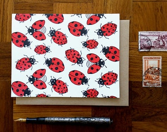 Ladybugs, Letterpress Note Card, Blank Inside