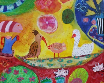 Magic Garden, acrylic, mixed media, picture on canvas, 50/50 cm