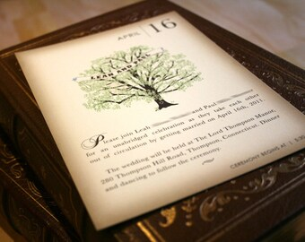 Sample Vintage Book Wedding Invitation, Rustic Tree Invitation, Storybook Invitation, Spring Wedding Invitation Printable Invitations Summer
