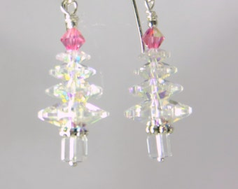 Christmas Tree Earrings in Swarovski Clear Crystal AB and Pink on Sterling Silver Wires
