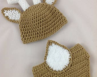 Newborn Deer Outfit - Newborn Deer Hat - Deer Baby Clothes - Woodland Baby Shower - Crochet Deer Outfit - Deer Baby Shower - Deer Halloween