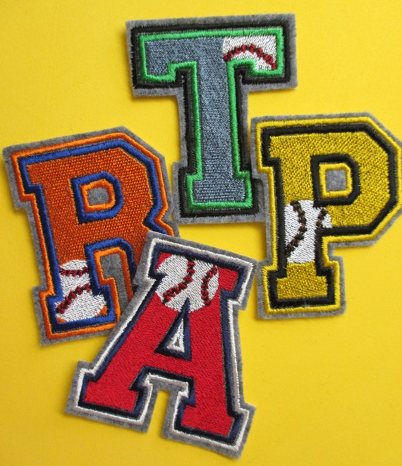 Embroidered 3 Inch Baseball Monogram Letters, Team Letters, School Colors on  Letters, Iron On Applique Letters, Sew On Applique Letters from ...