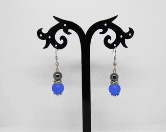 Earrings glass beads and hematite