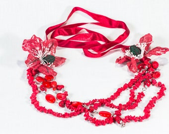 Red necklace, Red flower necklace, Semi precious stone necklace, Red jewelry, Long red necklace, Uk sellers only, Unique necklace