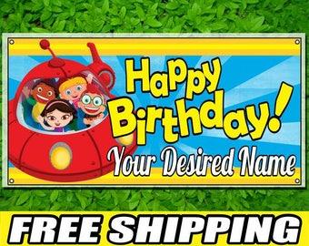 Little Einsteins Personalized Printed Custom Name Picture Vinyl Banner Happy Birthday Banner