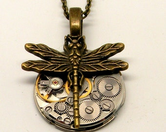 Steampunk watch with dragonfly pendant necklace. Steampunk jewelry.
