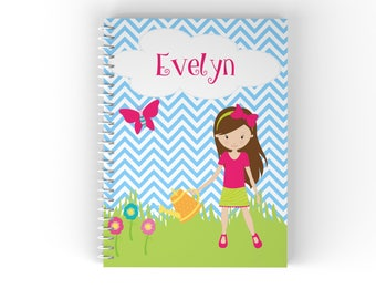 Gardening Personalized Notebook - Gardening Girl Grass Blue Chevron Buterfly Cloud with Name, Customized Spiral Notebook Back to School