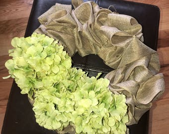 Green hydrangea wreath
