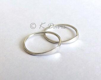 Sterling Silver Hoop Earrings, Sleeper Earring, Small Endless Hoops, Minimal Open Hoop Jewelry gift for her, custom hoop earrings, handmade