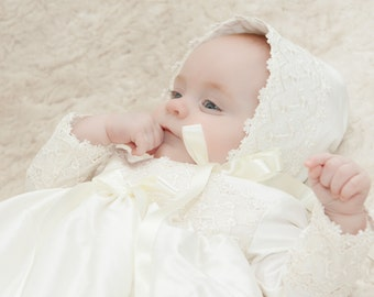 Christening Bonnet - Baptism Bonnet - Baby Bonnet - Silk Bonnet - Lace Bonnet -Traditional Bonnet - Christening Gift - Photo Prop - Lucy