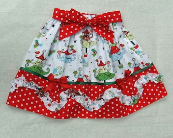 Kitty Skirt girl's skirt pdf sewing pattern & sewing tutorial sizes 2-12 years, gathered skirt sewing pattern.