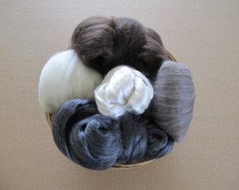 Luxury Spinning Fibers Gift Basket / Gift for Yarn Spinners / Cultivated Silk / Yak / Merino