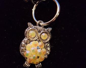 Owl choker with Yellow Swarovski Crystals