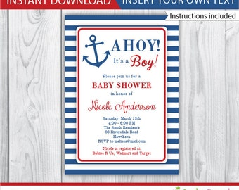 nautical invitation / baby shower nautical invitation / nautical baby shower invitation / baby boy nautical invitations / INSTANT DOWNLOAD