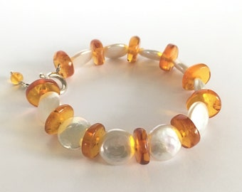 Baltic Amber & Keshi Pearl Sterling Silver Bracelet White Freshwater Pearls Yellow Honey Butterscotch Amber Jewelry with Gift Box