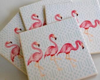 Ceramic Tile Coasters - 3 Flamingos Retro Style 001