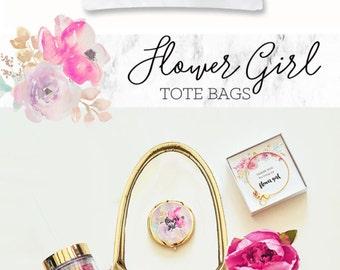 Flowergirl Tote Bags Flowergirl Gift Flower Girl Gift Bag Flower Girl Bag  (EB3162BPW)