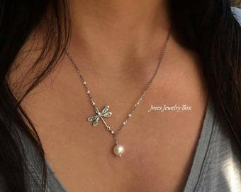 Silver dragonfly necklace with cream freshwater pearls, Lariat style necklace, Silver dragonfly necklace, Silver dragonfly jewelry
