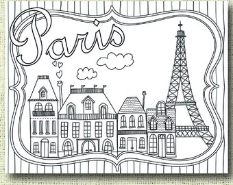 Printable Paris Coloring Page For Adults PDF JPG Instant Download Book Sheet Grown Ups Digital Stamp