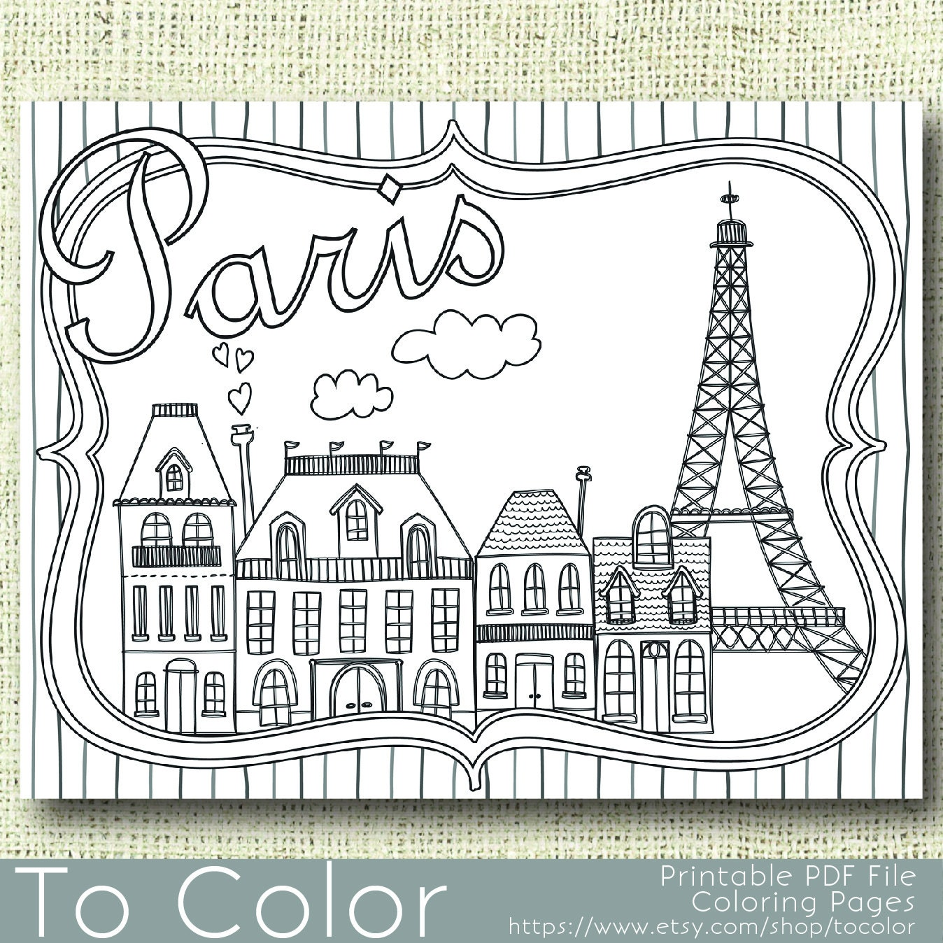 Printable Paris Coloring Page for Adults PDF / JPG Instant