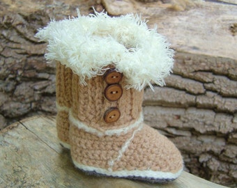 CROCHET PATTERN Ugg Style Booties Easy Baby Booties Crochet Pattern Instant Download Crochet Photo Tutorial