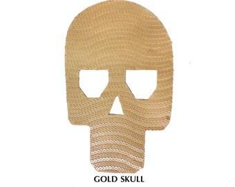 Gold Sequins Skull Patch Applique for Crafts Embellishments