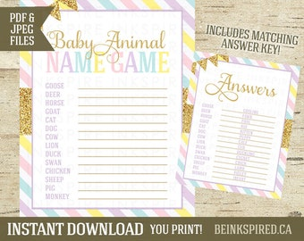 Unicorn Baby Shower, Baby Animal Names, Baby Animal Game, Baby Animal Match Game, Unicorn Shower Game, Printable, KADENCE, INSTANT DOWNLOAD