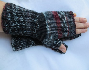 Black and burgandy, gray, fingerless gloves, boho knit, small, glove, mittens